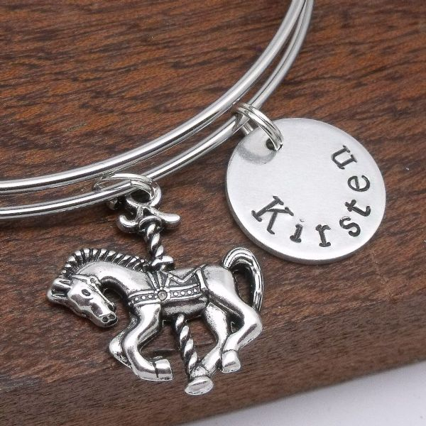 Carousel horse charm name bracelet personalised jewellery gift